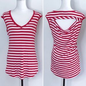 Pleione Striped T Shirt Cut Out V Neck Red & White